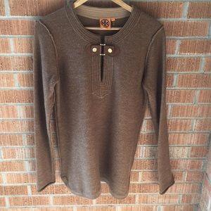 TORY BURCH wool alpaca• leather buckle • sweater